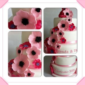 bruidstaart wit & roze