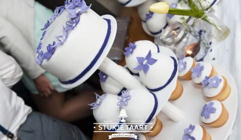 Totaal plaatje Bruiloft wit - paars Stukje Taart