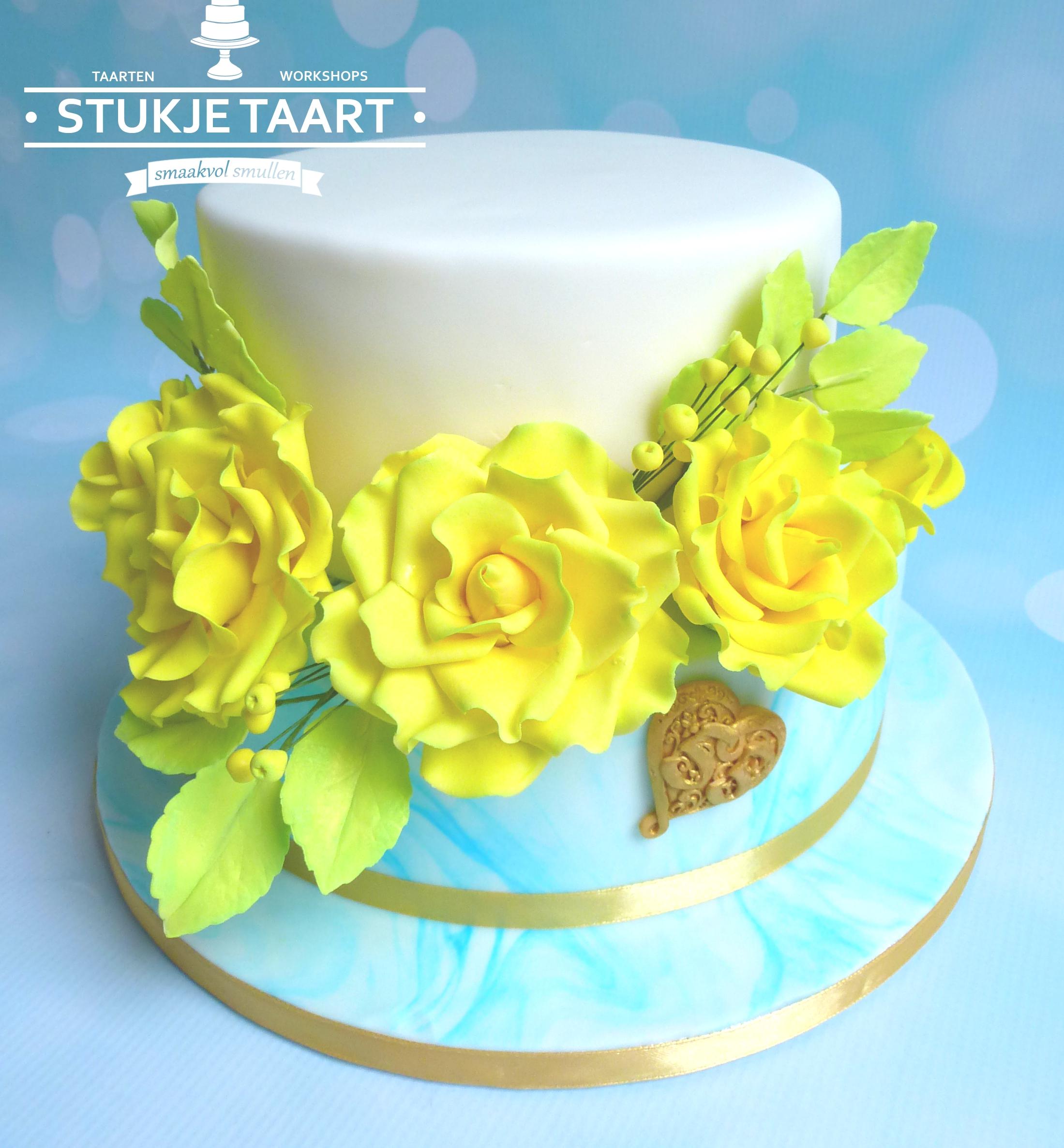 gele rozen bruidstaart trouwtaart