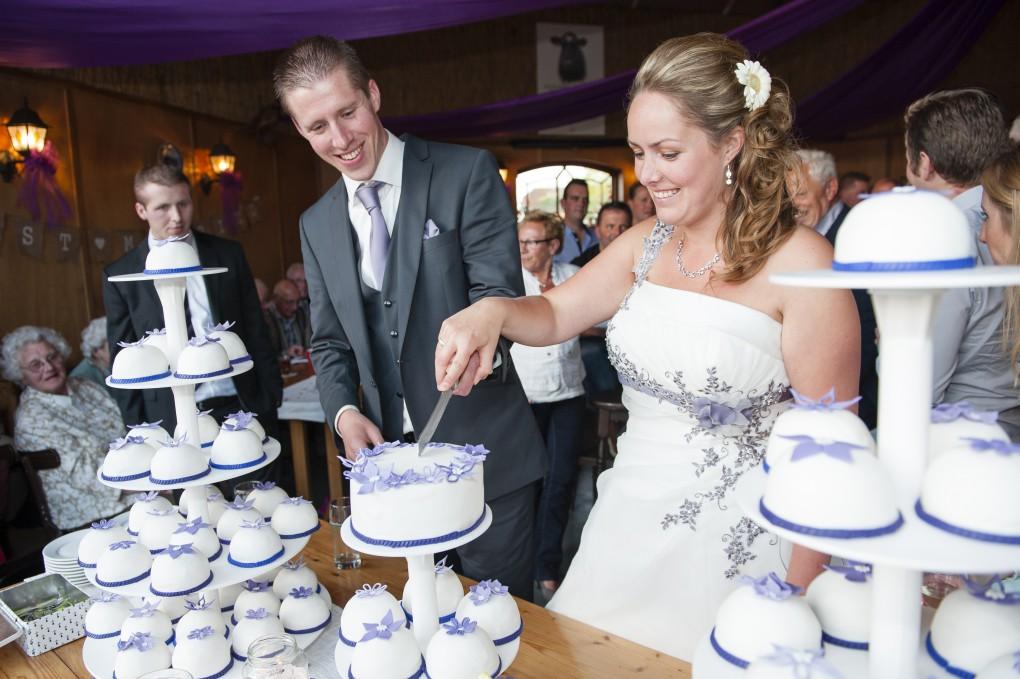 Aansnijdmoment Bruiloft Stukje taart